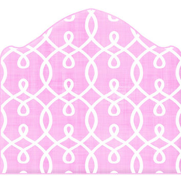 Wall Decal Headboard - Trellis - Pink and White - Twin - Lite version