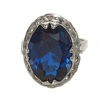 Large Oval Sapphire Spinel Single Stone Silvertone Fashion Ring with Unique Framed Setting