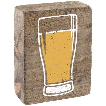 Beer Glass | Wood Block Sitter | 6-in