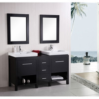 Design Element DEC091B New York Dark Espresso 60 Inch Contemporary Bathroom Vanity