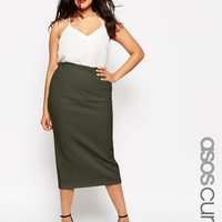 ASOS CURVE Midi Pencil Skirt In Cable Texture at asos.com