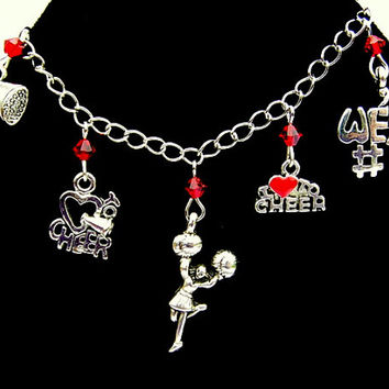 Cheerleader bracelet or cheerleader necklace, 7 charms or cheer necklace, cheerleading charm bracelet, you choose crystal color
