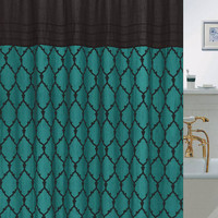 "Chainlinks Flocked Faux Silk Shower Curtain with Roller Hooks (70"" x 72"") - Teal"