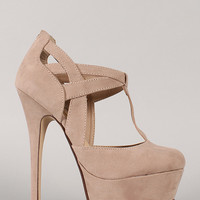 London-08 T-Strap Round Toe Stiletto Pump