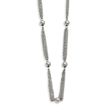 Stainless Steel Multi-strand with Beads Necklace 28in