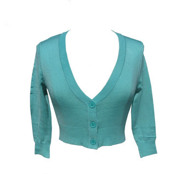 Mint Green Cropped V-neck Cardigan Sweater Pinup retro Rockabilly 50''s