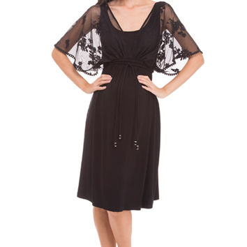 Olian Annette Chiffon Lace Cape Maternity Dress