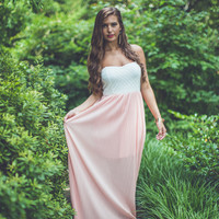 Peach and Pleated Maxi in Peach