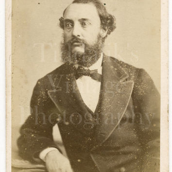CDV Carte de Visite Photo Victorian Handsome Bearded Man, Wild Hair Portrait - Allerston of Bridlington Quay Yorkshire - Antique Photograph