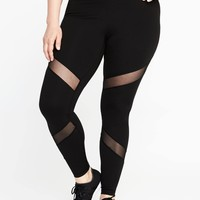 High-Rise Go-Dry Plus-Size Mesh-Trim Leggings | Old Navy