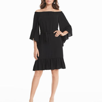 White House | Black Market Black Off-the-Shoulder Flounce Dress