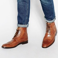ASOS | ASOS Brogue Boots in Tan Leather With Back Pull at ASOS