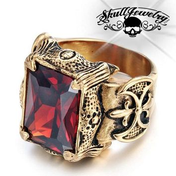 Gold-Tone 'Blood Templars' Gemstone Ring (464GOLD)