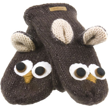 Ozzie The Owl Knit Mittens