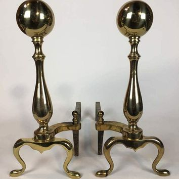 Pair Of Large Vintage Brass Fireplace Andirons