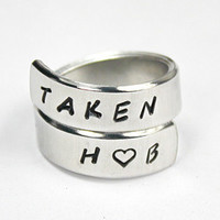Taken Ring With Two Lovers Initials, Personalized Love Ring, Love Jewelry, Hand Stamped Aluminum Ring, Lovers Girlfriend Gift - Edit Listing - Etsy