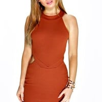Petite Ruby Cut Out High Neck Bodycon Dress