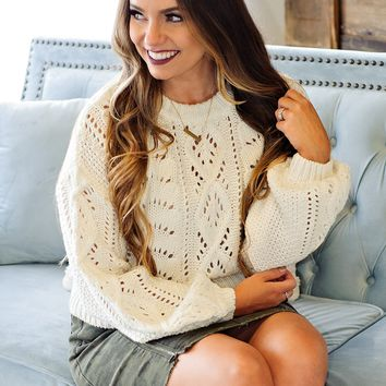 * Always A Statement Cable Knit Sweater: Ivory