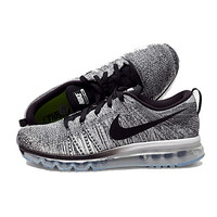 Nike Flyknit Air Max Running Shoes Men's Nike Flyknit airmax 2016 Athletic Shoes Men's Gray