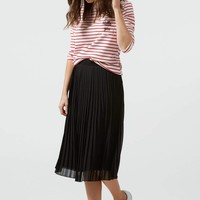 """Marcie"" Pleated Midi Skirt - Black"