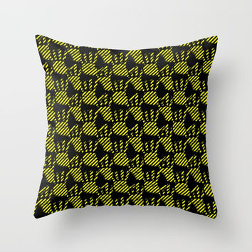 Yellow and black hands pattern, construction stripes palms theme, striped palm prints design Throw Pillow by Casemiro Arts - Peter Reiss