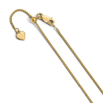 Leslies Sterling Silver Yellow Gold Plated 1.3mm Adjustable Wheat Spiga Chain - up to 22""
