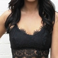 Black Bright Yellow Ivory Floral Lace Sleeveless Adjustable Strap Scalloped Fringe Camisole Crop Top Blouse
