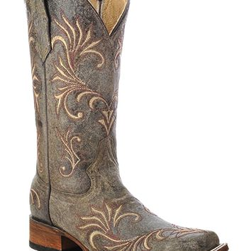 Circle G Women's Distressed Filigree Cowgirl Boot Square Toe - L5194