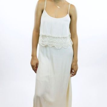 Ark & Co.   Jagged Lace Maxi Dress in Beige