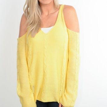 Yellow Cold Shoulder Cable Knit Sweater