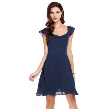 Navy Blue Collar Sleeveless Mini Dress