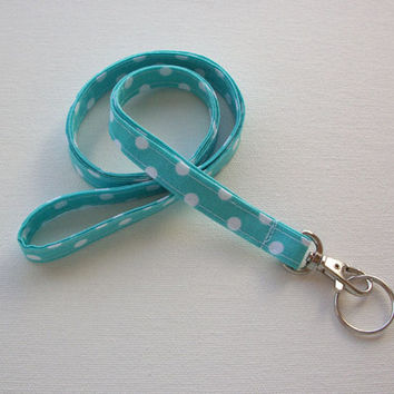 Lanyard ID Badge Holder - NEW THINNER design - White Polka Dots on Auqa - Lobster clasp and key ring