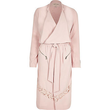 River Island Womens Pink crepe lace panel trench coat