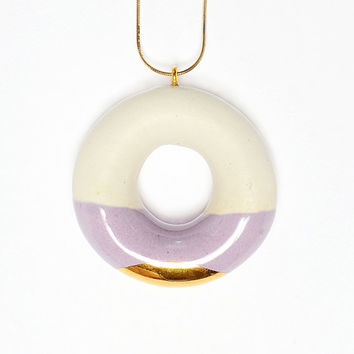 Milky Donut with Blueberry and Gold Glaze - handmade ceramic jewellery dessert