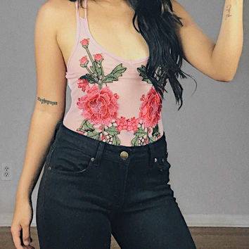 Catalina Mesh Floral Embroidered Bodysuit (Mauve)
