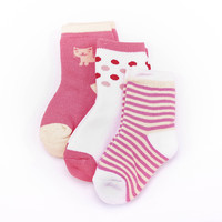 3 pair Suitable for 1-7Year Cute Cat pattern Baby Non-slip Socks Baby Infant Newborn Socks Winter 100% Cotton Sock Clothing