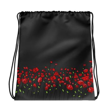 All-over-print Drawstring bag - Graphite and red floral pattern, poppy flowers