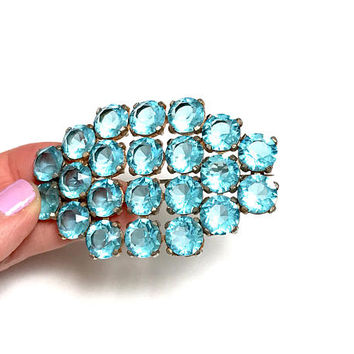 Aquamarine Rhinestone Brooch, Vintage, HUGE, Open Back Setting, Gold Tone, Vintage,  Oval Shape, 1940's, Vintage Jewelry, Gifts For Her