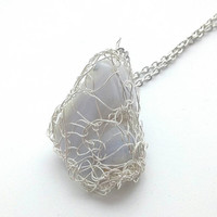 Blue Lace Agate Silver Wire Crochet Pendant, Elven Jewelry, Cosplay, Elf Pendant, Fairy Pendant, Wire Crochet Jewelry