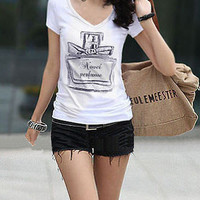 Sexy V Neck Perfume Bottle Graphic Basic Tee