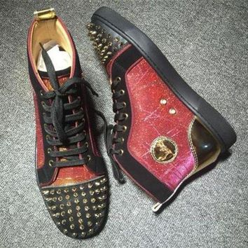 DCCK Cl Christian Louboutin Lou Spikes Style #2200 Sneakers Fashion Shoes