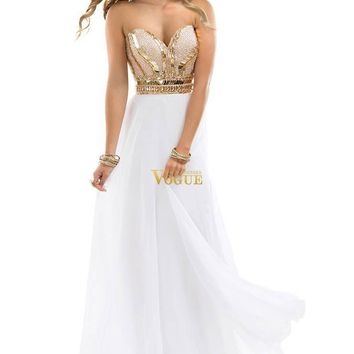 Noble Beaded Sweetheart Chiffon White Rose Gold Sparkle Evening Dress Prom Gowns
