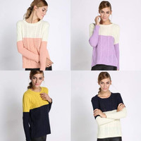 Women New Color block Knitted Casual Sweater Jumper pullover Knitwear Sweatshirt = 1946288836