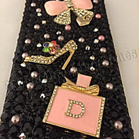 iphone 6 cell phone case, iphone 6 phone case, black and pink cell phone case, perfume bottle, bows, alloy cell phone case