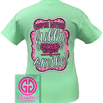 Girlie Girl Originals Your Never Fully Dressed Without a Smile Mint Bright T Shirt