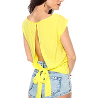 Knotty Key Hole Back Yellow Blouse
