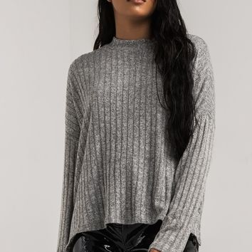 PAXTON Crew Neck Relaxed Fit Long Sleeve Soft Ribbed Knit Sweater in Burgundy, Black, Heather Grey