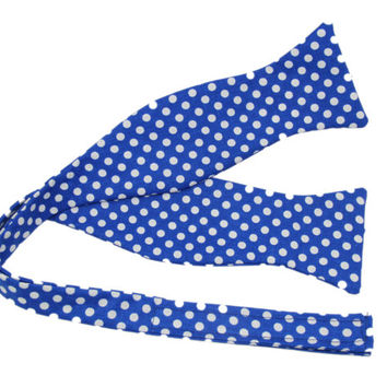 Blue With White Dots Self Tie Bow Tie - Velcro Adjustable