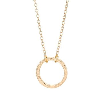 Shuangshuo 2017 Brushed Forever Circle Pendant Necklaces for Women Alloy Long Chain Geometric Classic Round Choker Necklace N083