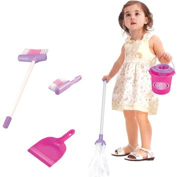5 PCS New Toy Set Kids Children Housekeeping Cleaning Toys Set Broom/Mop/Bucket/Dustpan Pretend Role Play Kitchen Education Toy
